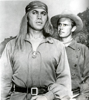 "Michael Ansara as Cochise and John Lupton as Tom Jeffords in ""Broken Arrow""."