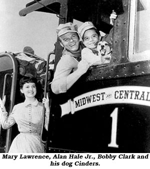 Mary Lawrence, Alan Hale Jr., Bobby Clark and his dog Cinders.