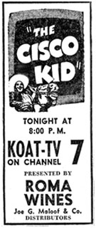 "Newspaper ad for ""The Cisco Kid""."