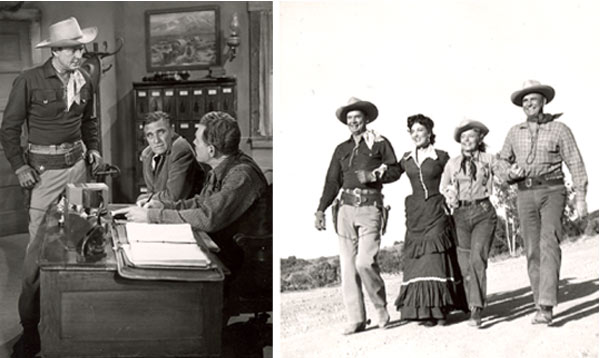 "Two pictures from Russell Hayden's personal collection. One-Russell confronts heavies in ""Cowboy G-Men"". Two-Russell and Jackie Coogan with leading ladies from Cowboy G-Men""."