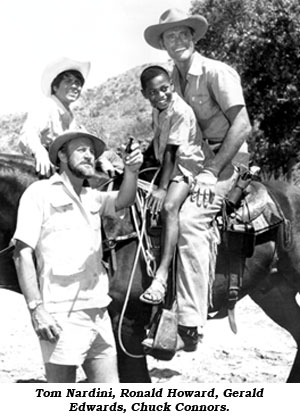 "The cast of ""Cowboy in Africa"": Tom Nardini, Ronald Howard, Gerald Edwards, Chuck Connors."