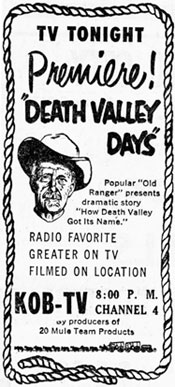 "Newspaper TV ad for ""Death Valley Days"" Premiere!"