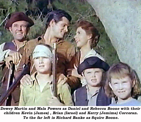 Dewey Martin and Mala Powers as Daniel and Rebecca Boone with their children Kevin (James), Brian (Israel) and Kerry (Jemima) Corcoran. To the far left is Richard Banke as Squire Boone.