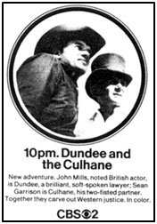 "TV GUIDE ad for ""Dundee and the Culhane""."