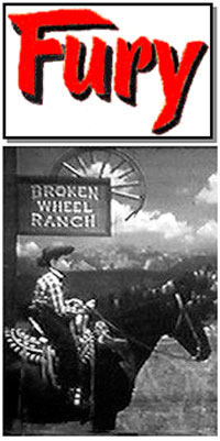 """Fury"" logo with picture of Joey on Fury under a sign for the Broken Wheel Ranch."