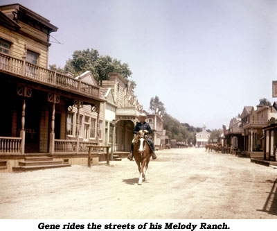 Gene rides the streets of his Melody Ranch.
