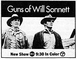 "TV GUIDE ad for ""Suns of Will Sonnett""."
