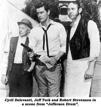 "Cyril Delevanti, Jeff York and Robert Stevenson in a scene from ""Jefferson Drum""."