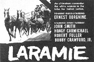 "TV GUIDE ad for ""Laramie""."