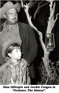 "Gina Gillespie and Jackie Coogan in ""Outlaws: The Sisters""."