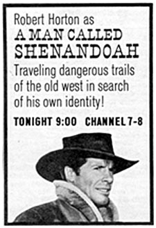 "TV GUIDE ad for ""Man Called Shenandoah"" starring Robert Horton."
