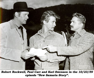 "Robert Rockwell, Paul Carr and Karl Swenson in the 10/23/59 episode of ""Man From Blackhawk"" ""New Samaria Story""."