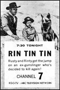 "TV GUIDE ad for ""Rin Tin Tin""."