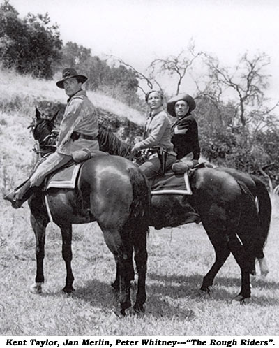 "Kent Taylor, Jan Merlin, Peter Whitney--""The Rough Riders"" on horseback."