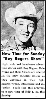 """Roy Rogers Show"" ad from TV GUIDE."