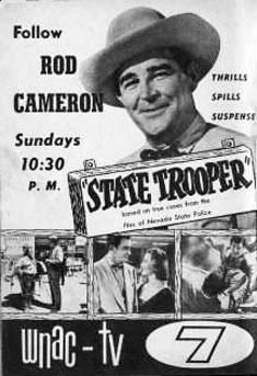 "TV GUIDE ad for ""State Trooper"" on WNAC-TV channel 7."