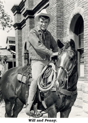 Sugarfoot (Will Hutchins) on his horse Penny.