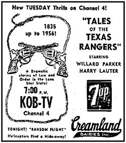 "Newspaper ad for ""Tales of the Texas Rangers""."
