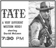"Ad from TV GUIDE for ""Tate""."
