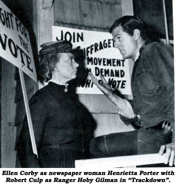 "Ellen Corby as newspaper woman Henrietta Porter with Robert Culp as Ranger Hoby Gilman in ""Trackdown""."