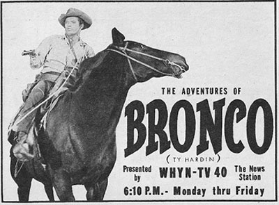 "TV GUIDE ad for ""Bronco""."