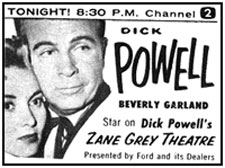 "TV GUIDE ad for Dick Powell, Beverly Garland on Dick Powell's ""Zane Grey Theatre""."