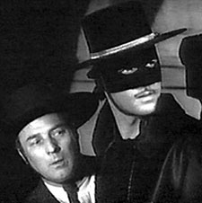 Gene Shelton (Bernardo) and Guy Williams (Zorro).