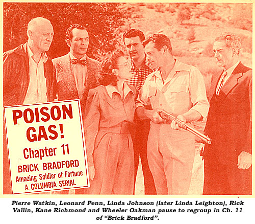 "Pierre Watkin, Leonard Penn, Linda Johnson (later Linda Leighton), Rick Vallin, Kane Richmond and Wheeler Oakman pause to regroup in Ch. 11 of ""Brick Bradford""."