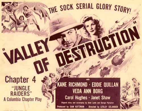 "Title card for ""Valley of Destruction"". Ch. 4 of ""Jungle Raiders""."