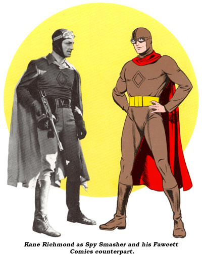 Kane Richmond as Spy Smasher and his Fawcett Comics counterpart.