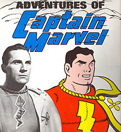 Captain Marvel (Tom Tyler) beside the comic book Captain Marvel.