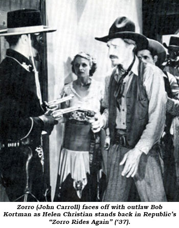 "Zorro (John Carroll) faces off with outlaw Bob Kortman as Helen Christian stands back in Republic's ""Zorro Rides Again"" ('37)."