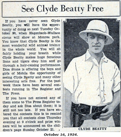 "Article ""See Clyde Beatty Free"" from October 16, 1934 newspaper."