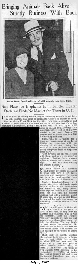 "Article ""Bringing Animals Back Alive Strictly Business with Buck"" from July 9, 1932 newspaper."