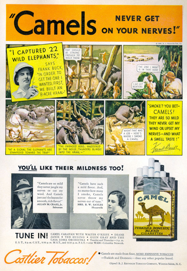 Ad for Camel cigarettes featuring Frank Buck.