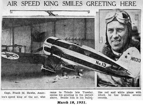 "Article ""Air Speed King Smiles Greeting Here"" from March 18, 1931 newspaper."