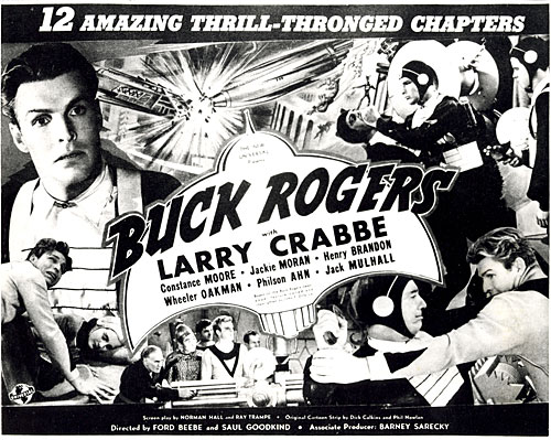"Title card ""Buck Rogers"" starring Larry Crabbe."