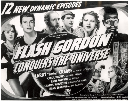"Title card for ""Flash Gordon Conquers the Universe""."