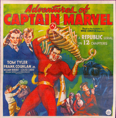 "Six Sheet Poster for 1941's ""Adventures of Captain Marvel""."