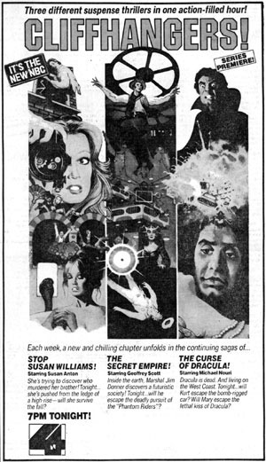 "Large TV GUIDE ad for ""Cliffhangers!""."