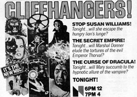 "Small TV GUIDE ad for ""Cliffhangers!""."