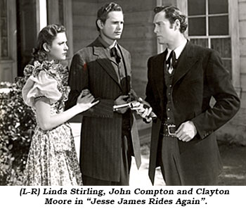 "(L-R) Linda Stirling, John Compton and Clayton Moore in ""Jesse James Rides Again""."