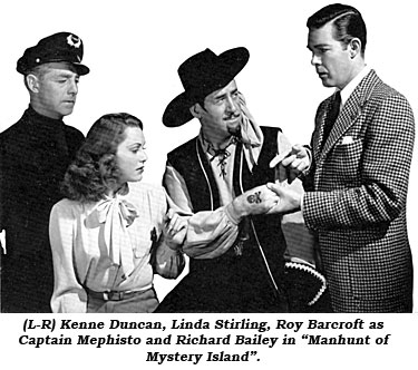 "(L-R) Kenne Duncan, Linda Stirling, Roy Barcroft as Captain Mephisto and Richard Bailey in ""Manhunt of Mystery Island""."