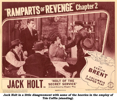 Jack Holt in a little disagreement with some of the heavies in the employ of Tris Coffin (standing).