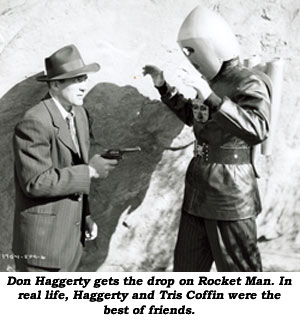 Don Haggerty gets the drop on Rocket Man. In real life, Haggerty and Tris Coffin wer the best of friends.