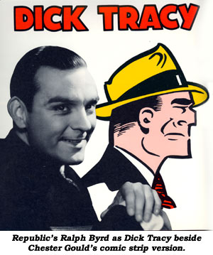Republic's Ralph Byrd as Dick Tracy beside Chester Gould's comic strip version.