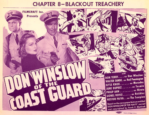"""Don Winslow of the Coast Guard"" title card for Chapter 8--""Blackout Treachery""."