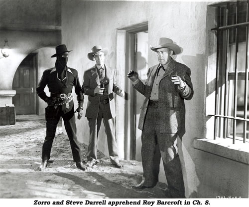 Zorro and Steve Darrell apprehend Roy Barcroft in Ch. 8.