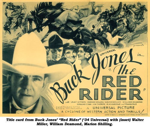 "Title card from Buck Jones' ""Red Rider"" ('34 Universal) with (inset) Walter Miller, William Desmond, Marion Shilling."