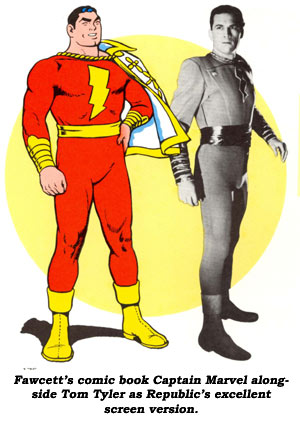 Fawcett's comic book Captain Marvel alongside Tom Tyler as Republic's excellent screen version.